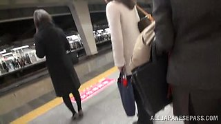 Japanese hottie gets fucked and creampied in a public place