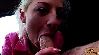 Stranded Brooke Lee rides cock in the car