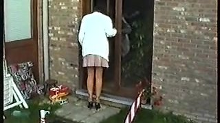 Hairy Milf Pees in Garden Standing Up
