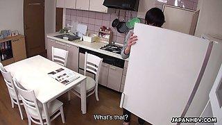 Lovely looking Japanese housewife Yuma Miyazaki sucks dick of her lucky hubby