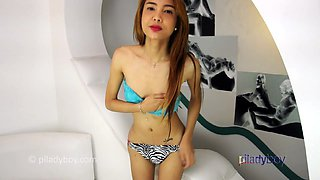 Skinny super cute Filipina Ladyboy wank and cum on her Belly