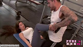 Strong sports training with busty new coach in the gym