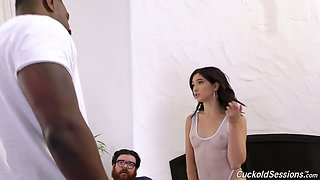 Young wife Jane Wilde goes black in front of her cuckold husband