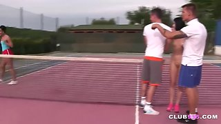 Cutie fucked by two tennis players