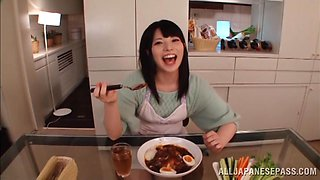 Sexy asian housewife Ai Uehara enjoys hardcore bang in the kitchen