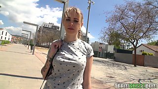 Cute teen Arteya shows her tits and fucks for money