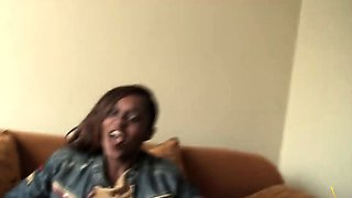 Alluring African ebony babe in hot interracial action