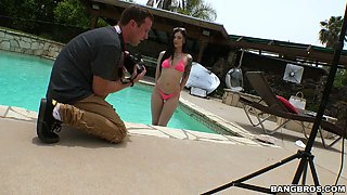 Sexy tattooed babe Marley Brinx gets her ass hole banged in the poolside