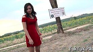 Slender asian maid drilled deep inside wet cuch