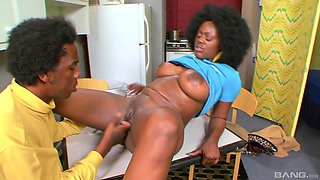 Ebony sex machine Barbie Banxxx pounded in the missionary position