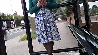 green open fronted dress windy upskirt nylons