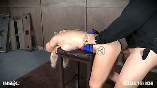 Fake tittied blonde Nadia White is punished by two brutal dudes with thick dicks