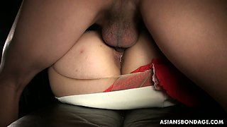 Pervert in black mask licks and fucks pussy of Asian babe in ripped nylons