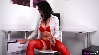 Filthy secretary in red lingerie and stockings Jasmine Lau is masturbating in the office