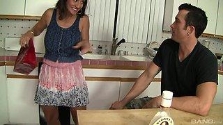 Kitchen action with MILF Persia Monir giving him a rim job