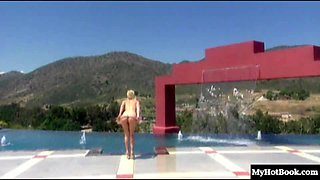 Blowjob from a blonde chick and riding a cock near the pool