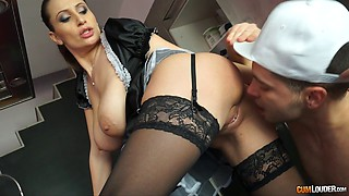 Sexy French maid spices up her working hours with a nice-looking dick
