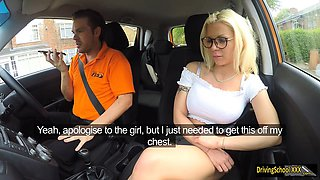 Busty Barbie Sins fucked by driving instructor in the car