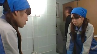 Asian toilet attendant enters the wrong part1