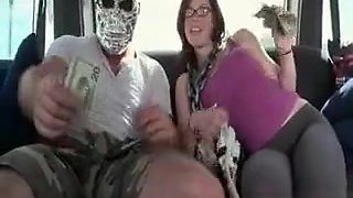 Amateur In Glasses Strips For Hot Sex In The Bus
