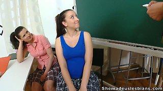Super horny teacher puts on a good striptease show