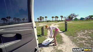 tiny blond anastasia knight skips the beach for giant dick in bangbus