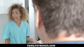 FamilyStrokes - Caramel Ebony Teen Gets Throatfucked By Stepbro