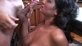 Amazing Kit Lee and her friend get their cunts plowed in the kitchen