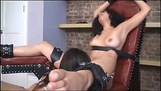 A brunette tart is being tied up and abused by a kinky slut