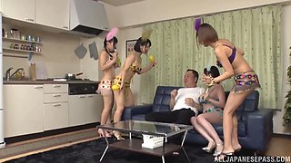 Hot orgy with amazing Japanese babes who want a big cock