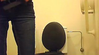 Girl with small bush pussy squatting over toilet
