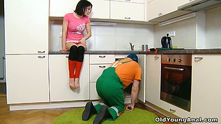 Sweet brunette teen in stockings sedused by an old plumber on the kitchen