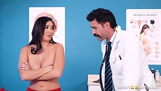 doctor treats her significantly large boobs with respect