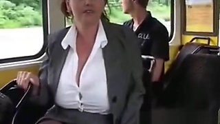 Giant tits milking on the bus
