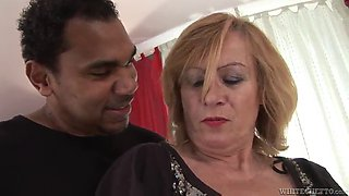rough interracial sex with a mature blonde