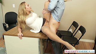 Wonderful bosomy blonde secretary lets boss fuck her twat mish on table
