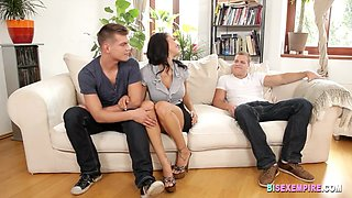 Bisex European couple share cock