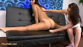 flexible doll savannah does acrobatic stunts while getting toyed by a girl