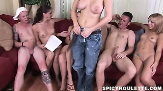 A group of 18-25yo amateur swingers playing Truth Or Dare