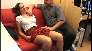 Super sexy ginger babe gets seduced by bald older man