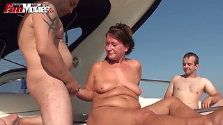 BBW and grannie having dirty sex fun on a yacht
