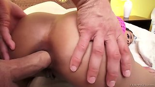 white fella drills kira noir's ebony ass with a dildo and his rock hard cock