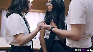 Virgin schoolgal double teamed by twisted stepsiblings