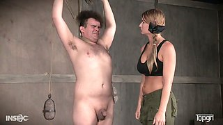 Strict mistress London River punishes one dude in the basement