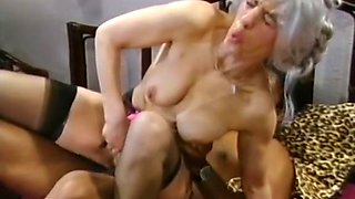 Insatiable and skinny white lady fucked with a big brown cock