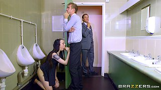 Boss's Bratty Daughter in an enticing clip with a security officer in washroom