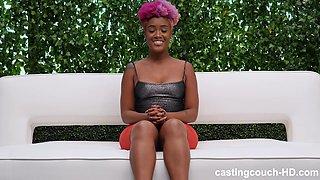Buxom ebony Alexandria gets on her knees and sucks on casting