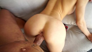 Hot babe in a miniskirt receives a hardcore doggystyle slamming in a close up shoot