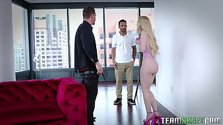 Blond hooker Emma Starletto is fucked by two well endowed studs