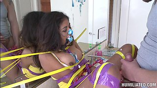 Spicy babe with gag is fucking in BDSM movie